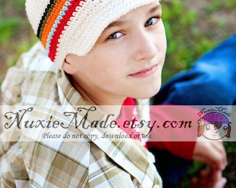 Stripe Newsboy Hat 2T-4T, Boys Crochet Hat, Childrens Hat, Hat with Brim, Boys Stripes Hat, Boy Hat, Winter Hat Beanie, Crochet Newsboy