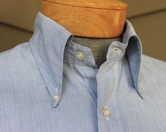 vintage 1970's -SERO 'The New Purist'- Button down collar shirt. Blue & White Micro stripe. Big collar - Long sleeve. Medium 15 1/2 x 33