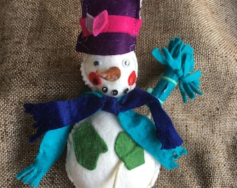 Vintage Folk Art Stuffed Felt Snowman with Broom Handsewn Handcrafted Appliqued Sequined Ornament