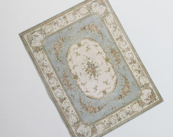 Miniature Dollhouse Rug French Aubusson Light Gray Blue Cream with Roses