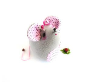 Mouse decorative mouse soft textile gray and pink