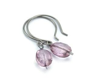 Niobium Earrings Pink Mystic Quartz Sensitive Ear Earrings, Wire Wrapped Dark Rose Gemstones, No Nickel Hypoallergenic Earrings
