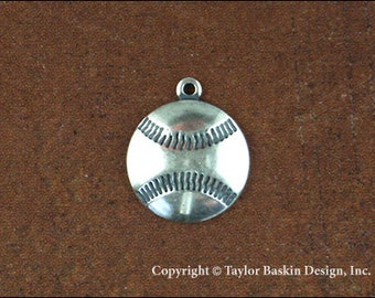 Baseball Jewelry Scrapbooking Charm Finding in Antique Silver Plate (item 1803 AS w/Loop) - 6 Pieces