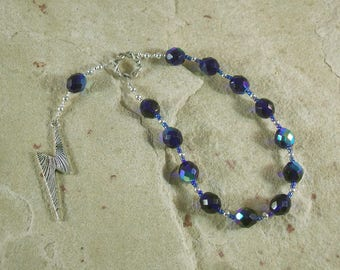 Zeus Pocket Prayer Beads: Greek God of the Sky and Storm, Thunder and Lightning, Justice and Right.