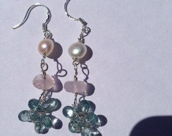 White pearl, Rose Quartz, Teal apatite, Dangling flowers, Lilyb444, Etsy jewelry,