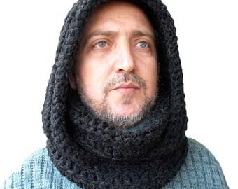 Men's Dark CHARCOAL Hooded Scarf/Crochet Black Scarf/Unisex hood/Chunky Men's Scarf/Black Scarf/CHARCOAL Cowl/Men's Graphite/Men's gift