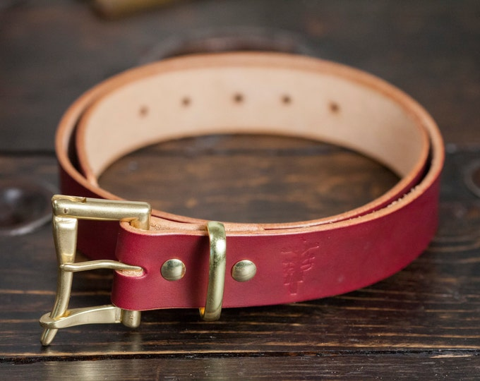 """1.25"""" OxBlood Leather Quick Release Belt with Solid Brass or Nickel Plated Hardware - Made to Order"""