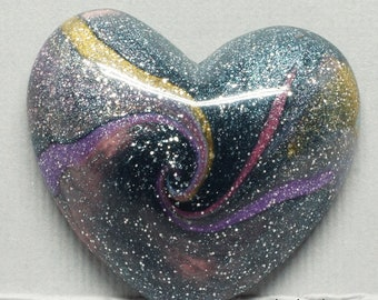 Galaxy Swirl Pink, Blue, Yellow and Purple Polymer Clay Heart Shaped Cabochon