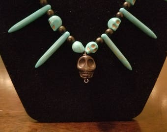 Black and Turquoise Colored Magnesite Skull Spike choker and matching earrings