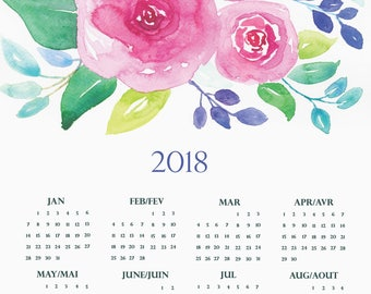 Limited-edition 2018 floral calendar, watercolor calendar, Printable Calendar,Digital download, poster calendar, botanical calendar, 11 x 17