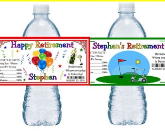 20 RETIREMENT PARTY favors water bottle labels ~ glossy ~ waterproof ink