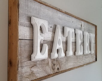 Rustic Sign  |  Wall Art Home Decor  |  EATERY Sign  |  Retro Kitchen Restaurant Diner  |  Upcycled