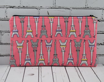 Eiffel Tower Pencil Case, Paris Themed Small Makeup Bag