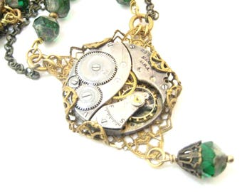 Emerald Elegance ... Steampunk Victorian Watch Movement Necklace, Green Victorian Elegant Steampunk Necklace, One of a Kind