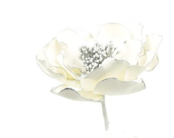 White and Silver Open Rose Sugar Flower with Gold Edging for wedding cake toppers, birthday decorations, bridal showers, gumpaste flowers