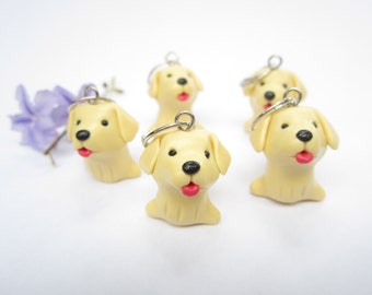 Cute Yellow Lab Stitch markers (Set of 5) knitting polymer clay dog charms labrador retriever, dog stitch markers, knitting accessories