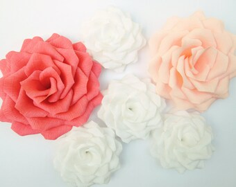 Paper Flowers Wall Decor/Giant Paper Roses/Wedding Decoration/Arch Flowers/ Baby Shower/ Coral Peach White Roses/ Nursery Flowers Wall