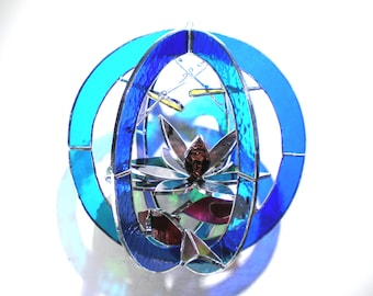 Peace Pond - Stained Glass 3D Sphere - Medium Blue Suncatcher Home Decor Koi Fish Lotus Waterlily Dragonfly Hanging Art Orb (READY TO SHIP)