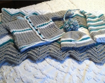 Baby boy chevron grey white and turquose blanket sweater and 2 hat set