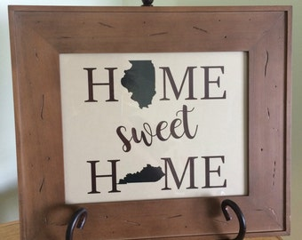 Home Sweet Home Print, Wall Print, Home Sweet Home, Inspirational Print, Home State Print, Home Print, Home Sweet Home with States