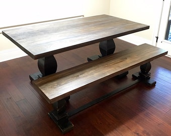 Milled base dining table distressed base with choice of color
