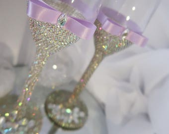 (Set of 2) wedding champagne flutes while crystals