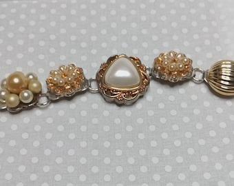 Collage bracelet vintage earring bracelet assemblage earring bracelet gold and white vintage earrings