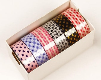 Mothers Day Sale 6 piece packs 10 Yards of Colorful Mini Hearts Pattern Washi Tape Assortment
