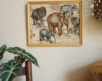 Vintage Fabric Elephant Herd Wall Art with Stitching Details