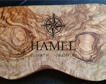 Engraved Olive Wood Compass/Coordinates Cheese Board