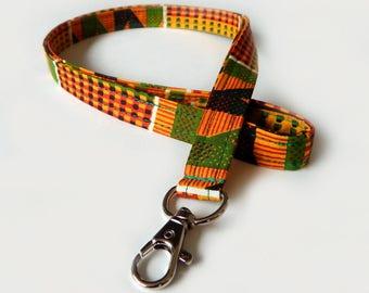 African Kente Lanyard / Rasta / Tribal Keychain / Red Yellow and Green / Key Lanyard / ID Badge Holder / Fabric Lanyard / School Supplies