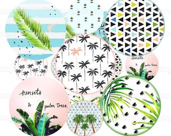 """Digital college sheet circles palm tree sunset summer, 1"""" inch circle,pendant images, bottle cap images, digital rounds, instant download"""