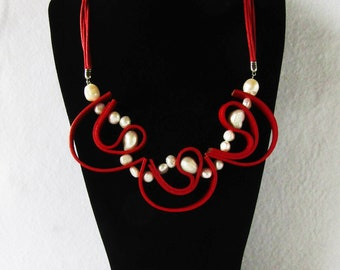 Red leather necklace, river pearl necklace, leather and pearl necklace, abstract necklace, made in Italy, choker necklace, leather necklace