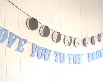 PHASES of the Moon Banner, Moon Banner Only Childs Bedroom Banner, Customizable, Astronomy Banner