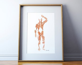 Muscular System Watercolor Print - Body System Watercolor Print - Medical Art - Anatomy Art