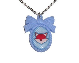 Kawaii Fox Necklace, Baby Blue Polkda Dot Cameo, Woodland Animal