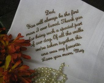Father of the bride gift - personalized wedding handkerchief