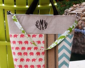 XL tote Large Diaper Bag Tennis Tote Bag Handbag Keeta Collection Tote Beach Bag Linen Monogrammed Tote Bag Elephants and Chevron Tote Bag