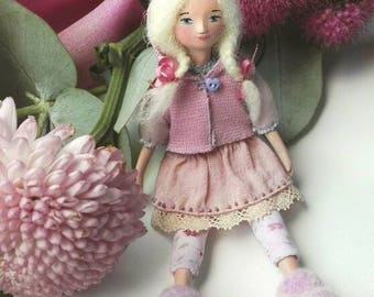 Miniature doll - Handmade Dollhouses doll  Ann, pocket size doll, mini toy, OOAK miniatures, gift for her, pink doll, funny doll -  5 inch