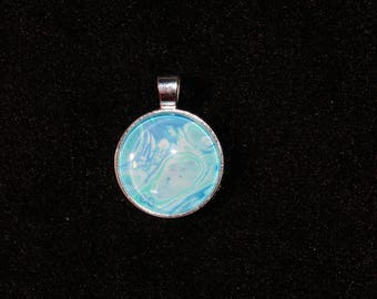 Hand Painted Glass Cabochon Silver Setting