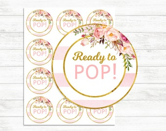 Printable Ready to pop stickers Pink and Gold, Ready to pop tags, Label, INSTANT DOWNLOAD, printable Stickers, Floral Gold Baby shower Girl