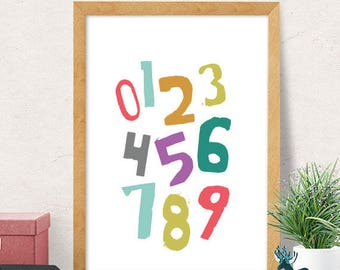 Numbers print, educational print, nursery wall art, modern nursery decor, cute print, nursery wall decor, kids room decor, cute nursery