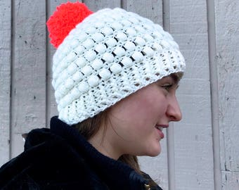 Puff Hat in White with bright pink pom-pom