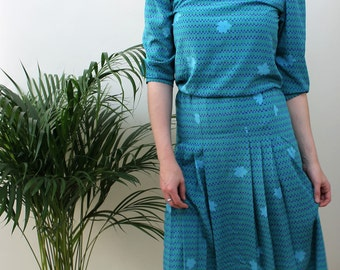 1980s Turquoise Drop Waist Dress Size UK 6/8, US 2/4, EU 34/36