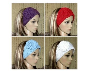 Flower Headband Ear Warmer, Wool Hair Wrap 48 Colours