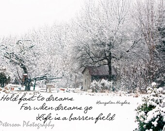 Inspirational Quotes Photos. Winter Landscape Print, Typography photo, Snow Photo Art, Winter White Decor. Langston Hughes quote photo Art