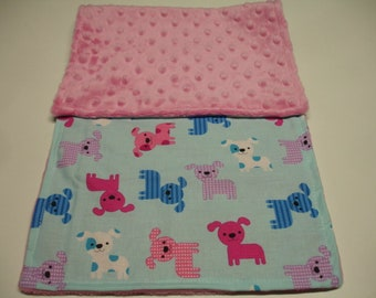 Puppies Blue Lavender Pink Minky Baby Burp Cloth 9 x 20  READY TO SHIP