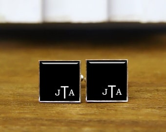 initial cufflinks, custom 2-3 letter round or square cufflinks & tie clip, art monogram cuff links, initials square cufflinks, wedding gifts
