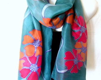 "Hand Painted Silk Scarf, Floral, Teal Red Orange, 71"" x 18"", Gift For Her"