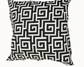 Outdoor / Indoor Black and White Greek Key Cushion Cover